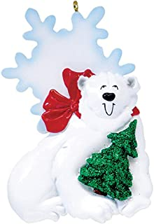 Personalized Sweet Polar Bear Christmas Tree Ornament 2019 - Playful Glitter Arctic Smile Red Scarf Snowflake Ice Holiday Baby Tradition Grandkid Son Daughter Toddler Gift Year - Free Customization