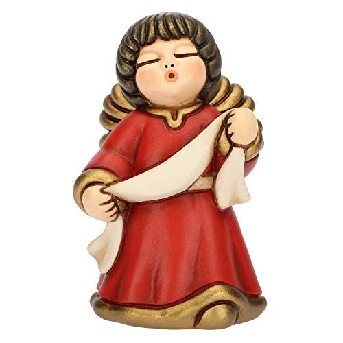 THUN - Angelo dell'Annunciazione con Targhetta - Veste Rossa - Statuine Presepe Classico - Ceramica - I Classici