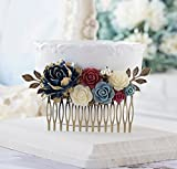 Navy Blue Burgundy Wedding Bridal Hair Comb, Navy Blue Maroon Dusty Blue Ivory Rose Flower Hair Comb, Antique Gold Leaf, Country Wedding 31838