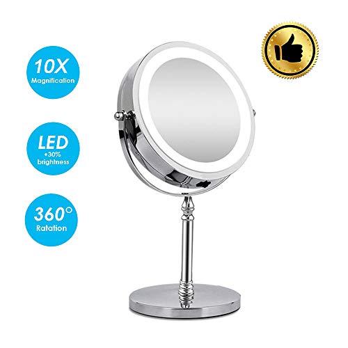 Tool House Miroir De Maquillage éclairé par LED Miroir Cosmétique Miroir Grossissant 1x / 10x avec Lumières Miroir De Rasage Vanity Mirror Mirror Touch Control,White