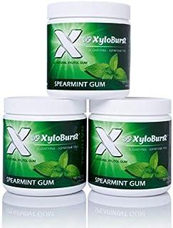 XyloBurst 100% Xylitol, Natural Chewing Gum 100 Count Jar Non GMO, Vegan, Aspartame Free, Sugar Free (Spearmint, 3 Pack)