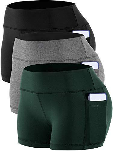 CADMUS Women's High Waist Workout Running Shorts with Pocket,3 Pack,09,Black,Grey,Dark Green,X-Large