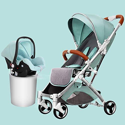 QJY 2 in 1 kinderwagen, hoog landschap baby-wandelen & bassinet pram, opvouwbare kinderwagen met verstelbare canopy, geheugenmand blauw