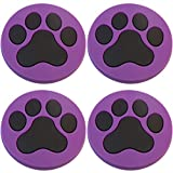 Four (4) of Purple Paw Print Rubber Charms for Wristbands and Shoes