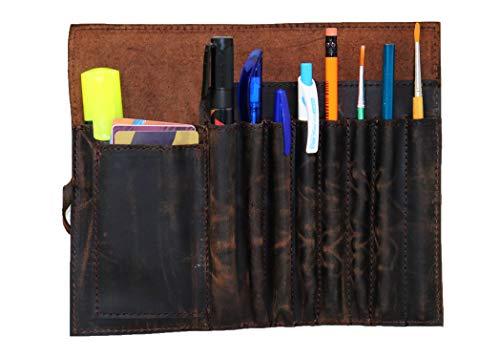 Jaald Apliques de cuero genuino lápiz cepillo giratorio pluma de la caja del organizador del sostenedor Cepillos Regla estacionario bolsa de regalo para los estudiantes Artista Pintor y escritor cade