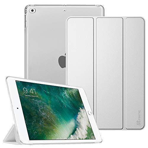 Fintie Hoes voor iPad 9,7 inch 2018/2017, ultradunne beschermhoes met transparante achterkant, met automatische slaap-waakfunctie voor 9,7 inch iPad 6. Generation / 5e generatie. *Silber