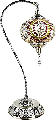 ZJJZ Lámpara de Mesa de Mosaico Turco Lámpara de Mesa Oriental marroquí Lámpara de Mesa Tiffany Vintage para Sala de Estar, lámpara de Noche para Dormitorio, Cuello de Cisne, Base de Bronce