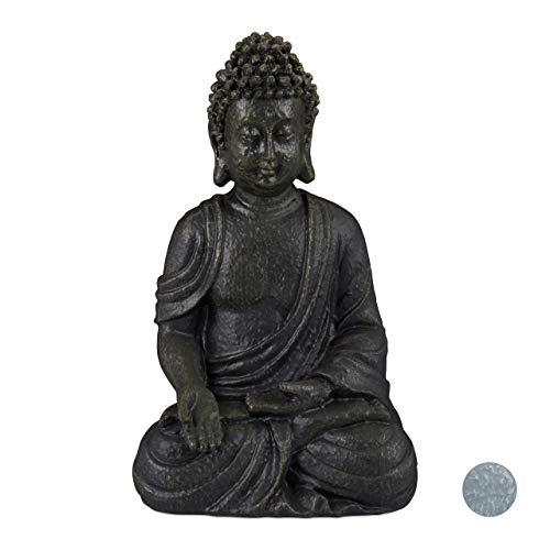 Relaxdays Buddha Figur sitzend, dunkelgrau, 30cm
