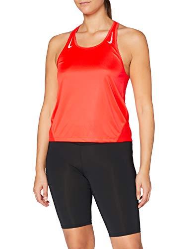 NIKE Miler Racer Tanktop Camiseta de Tirantes para Mujer, Bright Crimson/Reflective Silv, Medium