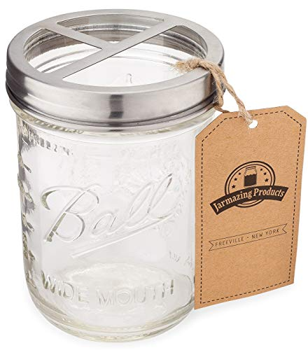 Jarmazing Products Mason Jar Toothbrush Holder  with 16 Ounce Ball Mason Jar – Made from RustProof Stainless Steel