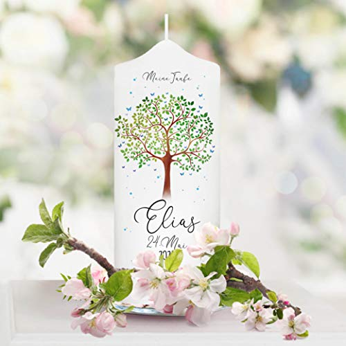 Wandtattoo Loft Taufkerze für Paten Lebensbaum Baum - Patenkerze Mädchen Junge Kerze weiß 17 x 7 cm mit Name und Datum