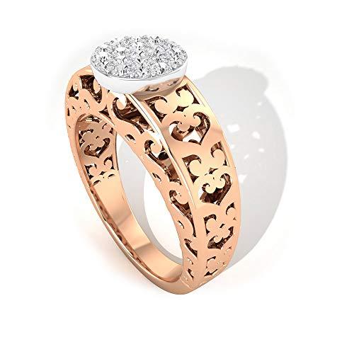 Anillo de compromiso con diamantes de 0,31 ct, certificado SGL, grabado Art Deco, claridad de color IJ-SI, anillo de novia, anillo de la madre, 14K Oro rosa, Size:EU 51