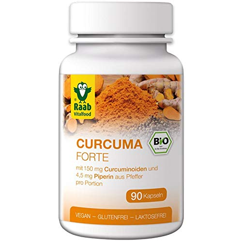 Raab Vitalfood Bio Curcuma Forte Kapseln, 90 Stück, aus Kurkuma-Extrakt, mit Curcuminoiden & Piperin aus schwarzem Pfeffer, vegan, 45 g
