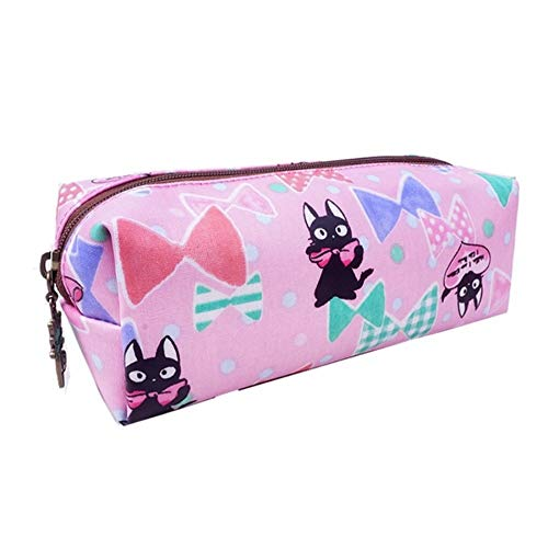 Trousse Rectangulaire (7x21x7cm) imperméable Queen & Cat/ -Chat Fond Rose