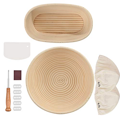 Bread Proofing Basket Set for Bread Baking- Round Proofing Basket 10'' & Oval Banneton 10'', Linen Cloth Liner, Bread Scoring Lame &Blades, Dough Bench Scraper