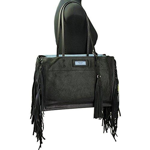 Prada Eticket Black Leather With Fringe Tote Shoulder bag 1BG122
