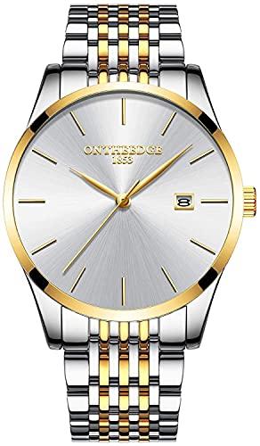 QHG Reloj de Pulsera de muñeca de Cuarzo analógico para Hombre Reloj de Pulsera analógica (Color : White Gold)