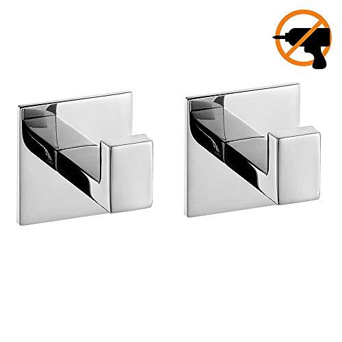 Homovater Badzubehör Selbstklebend Einschließlich Toilettenpapierhalter Handtuchring Handtuchhalter und Handtuchhaken, 4 STÜCK im Paket (Handtuchhaken(2er), Chrom)