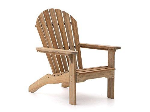 ROUGH Stabile X Adirondack Chair Gartenliege | Teakholz Gartenstuhl | Liegestuhl aus behandeltem Teakholz, für Garten oder Balkon | Wetterfest, pflegeleicht und klassisches Aussehen