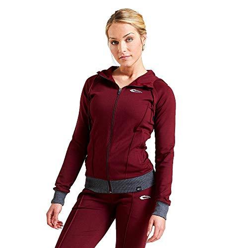 SMILODOX Damen Kapuzenpullover 'Suit up' | Zip Hoodie für Sport Fitness Training & Freizeit - Sportpullover - Kapuzenpulli mit Reißverschluss-Sweater-Lange Ärmel, Größe:XS, Farbe:Bordeaux