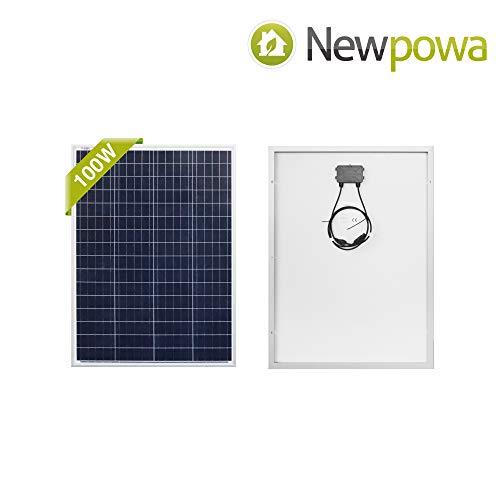 Newpowa 100 Watt Polykristallines SolarModul Hohe Effizienz 100W 12V SolarPanel Poly Solarzelle Photovoltaik für Wohnmobil Gartenhäuse Boot (1pc 100W Poly)