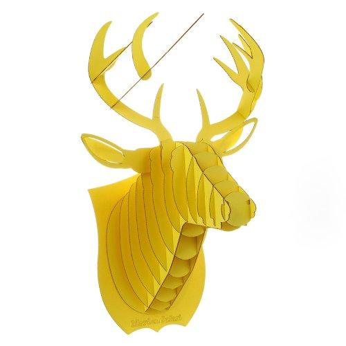 Decoration Murale Kit Trophee de Chasse Puzzle 3D Carton Original Animal Tete de Cerf Large Jaune