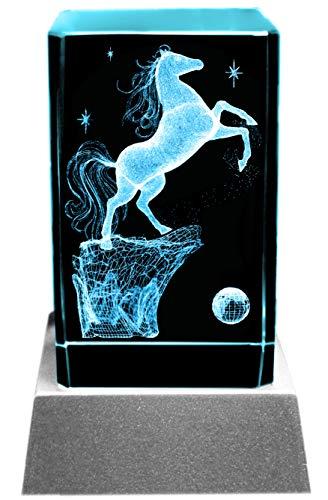 Kaltner Präsente Stimmungslicht - Das perfekte Geschenk: LED Kerze / Kristall Glasblock / 3D-Laser-Gravur PFERD