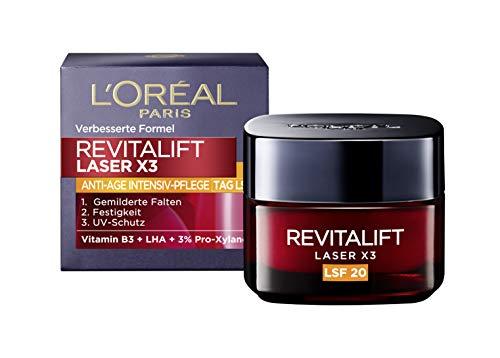 L'Oréal Paris Tagespflege mit LSF 20, Anti-Aging Gesichtspflege mit 3-fach Wirkung, Gesichtscreme mit Vitamin B3 & Pro-Xylane, Revitalift Laser X3, 50 ml