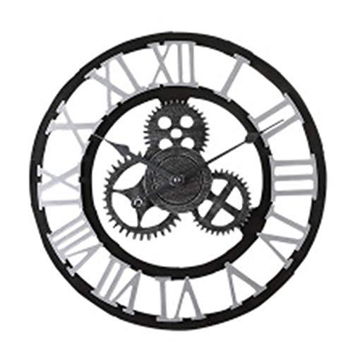 W.zz Vintage Wanduhr 3D Handgefertigte Römische Ziffer Wanduhren Industriegetriebe Europäischen Retro Uhren Kreative Kunst Dekoration Für Wohnzimmer Restaurant 40Cm,Silber
