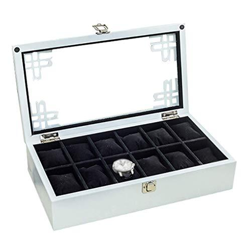 GQSHK GQSHK 12-Slot Uhr Display Aufbewahrungsbox Schmuck Fall Armband Fach weiches Futter Interieur mit 12 abnehmbaren Kissen, Metallverschluss Vitrine mit Glasdeckel (weiß)