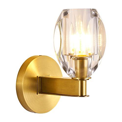 Wmdtr Apliques de Pared para Interiores Lámpara de Pared de Lujo con luz de Cobre, Lámpara de Pared con Acabado Dorado con Pantalla de Cristal, Soporte de lámpara G9