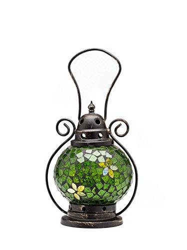 aubaho Windlicht Laterne Lampe Teelicht Garten Terasse Haus Glas Buntglas grün 20cm