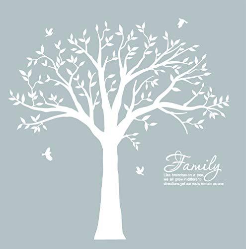 BDECOLL Grande famiglia come ramo sul muro di parete Adesivo da parete della stanza da parete Soggiorno della scuola materna (il Cornice non incluso) (bianco)