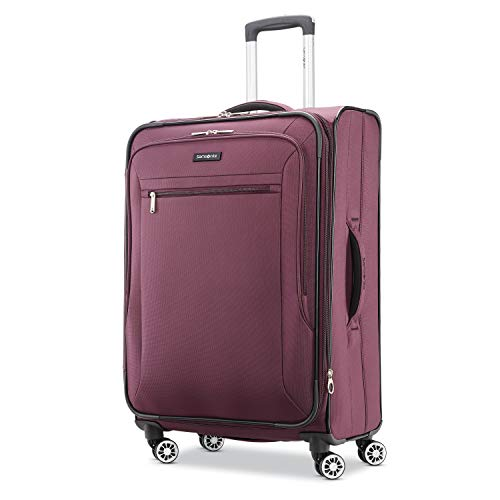 Samsonite Ascella X Softside Expandable Luggage with Spinner Wheels, Plum, Checked-Medium 25-Inch
