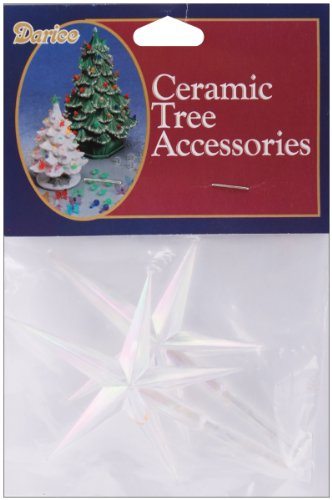 "Ceramic Christmas Tree Stars 3.875""X2.625"" 2/Pkg-Iridescent"