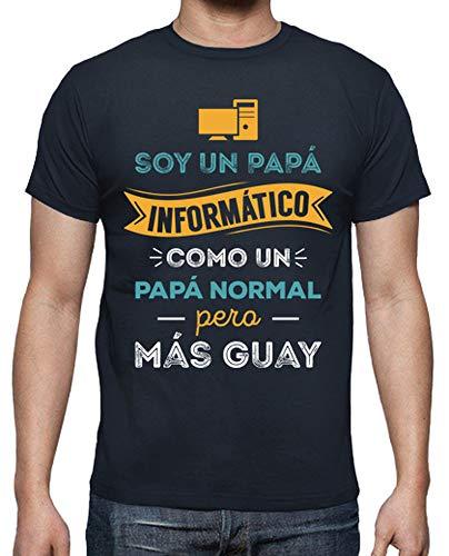 latostadora Camiseta Papá Informático - Camiseta Hombre clásica, Azul Marino Talla XXL
