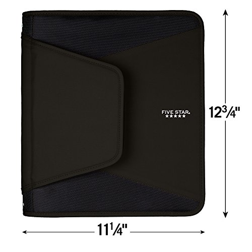Five Star 1-1/2 Inch Zipper Binder, 3 Ring Binder, 3-Pocket Expanding File, Durable, Black (72204) Photo #2