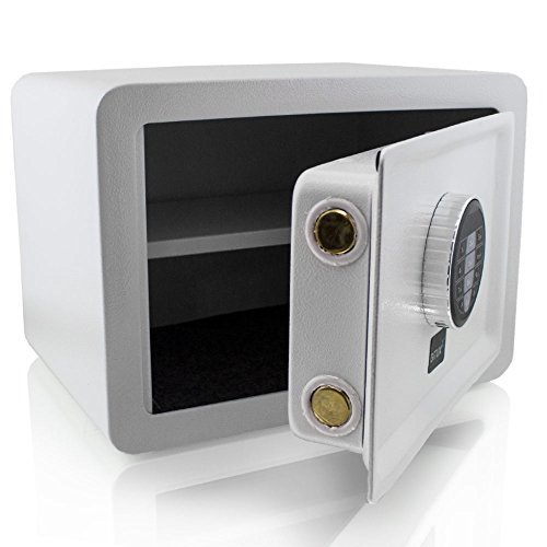 BITUXX® Design Safe Tresor elektronisch Minisafe Wandtresor Wandsafe Schranktresor Geldschrank Möbeltresor Geldsafe (Weiß)