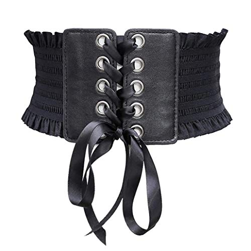 Retro De Las Mujeres Elásticos De Cintura Ancha Del Corsé Pretina Elástico Vestido De La Vendimia Correa De Cincha Con Cordones Para Señoras