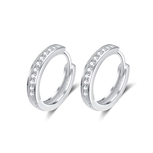 925 Sterling Silver Small Huggie Hoop Earrings with Swarovski Crystals Sleeper Earrings for Women Girls