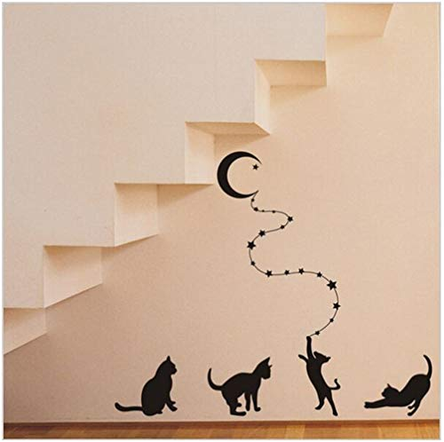 Stickers Muraux Méchant Chats Atteindre La Lune Decal Home Decor Pour La Chambre De Lit Lit Autocollants