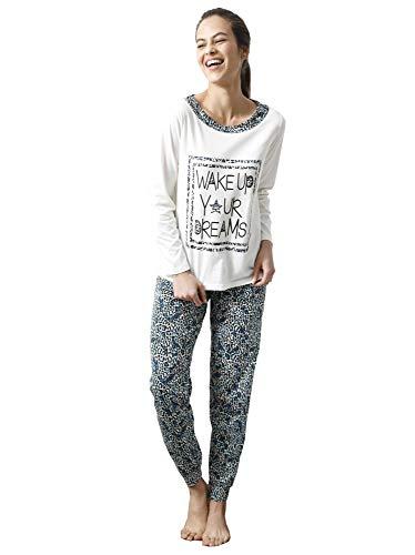 Pijama Camiseta con Escote de Efecto Doble y Estampado Frontal Mujer b - 029832,Azul Estampado,4XL