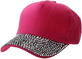 BEESCLOVER Women Rhinestones Baseball Hat Cotton Baseball Cap Adjustable Lady Crystal Hip Hop Hat Cool Girls Outdoor Sunhat Cap