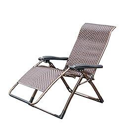 Fauteuil Relax de Jardin Pliant Zero Gravity Sunlounger Pliant Rotin Chair Fauteuil Réglable Loisirs Paresseux Back…