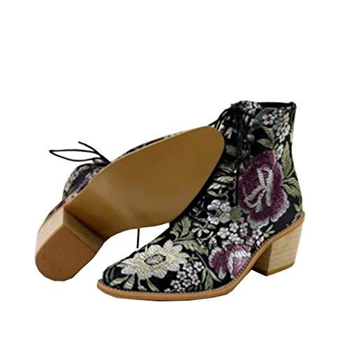 Botines Mujer Chelsea Botas Cuero Bajo Bloque Tacón Botas Invierno Retro Bohemio Nieve Botas Antideslizante Zapatos de Cordones