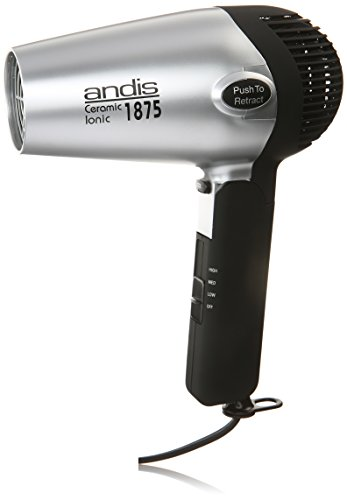 Andis 80020 1875-Watt Fold-N-Go Ionic Hair Dryer, Silver Black