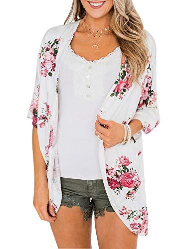 Nieuwe vrouwen chiffon Kimono gebreide jas strand cover Up Stripe Print 3/4 mouwen lang los casual blouse open front top wit