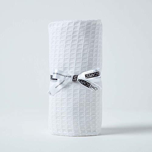 HOMESCAPES Couverture Blanc écologique en Pur Coton Gaufre de 90 x 110 cm