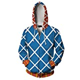 PartyCos 3D Print Guido Mista Jacket Zipper Up Anime Cosplay Costume Hooded Sweatshirt Halloween Costumes for Men Blue