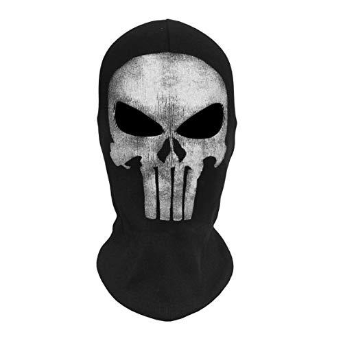 Sunnyflowk Skull Ghost Masken Halloween Punisher Deathstroke Reaper Vollgesichtsmaske (schwarz (4))